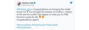 Dominos Pizza offers free pizza to Mirabai Chanu