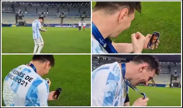 Lionel Messi video called his wife after victory