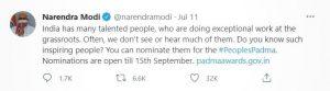 PM Modi tweet regarding the nomination of Padma Awards