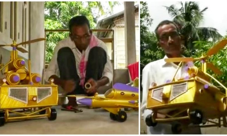 Hajo man creating a helicopter made of bamboo to give as a gift to Assam CM Dr. Himanta Biswa Sarma