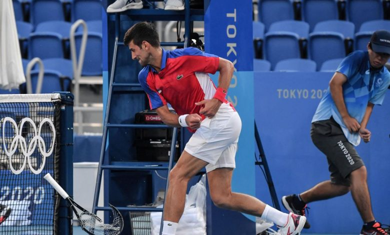 Novak Djokovic Smashes Racquet after losing in Olympic