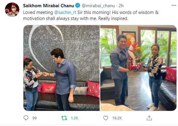 Mirabai Chanu Meets Sachin Tendulkar, Says Cricketer 'inspired Me With Words Of Wisdom