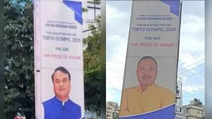 Assam CM and Sports Ministers photo on Lovlina Borgohain's wishing posters