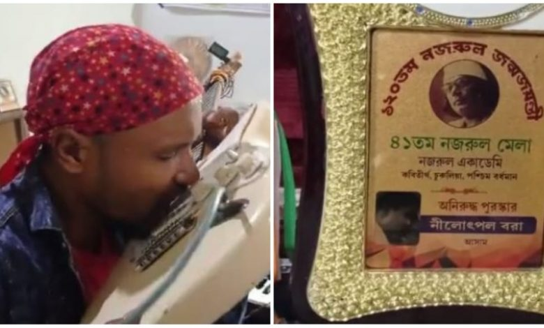 Assam boy plays guitar by tooth